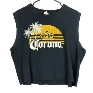 3/$30 Corona crop top muscle shirt Sz XL